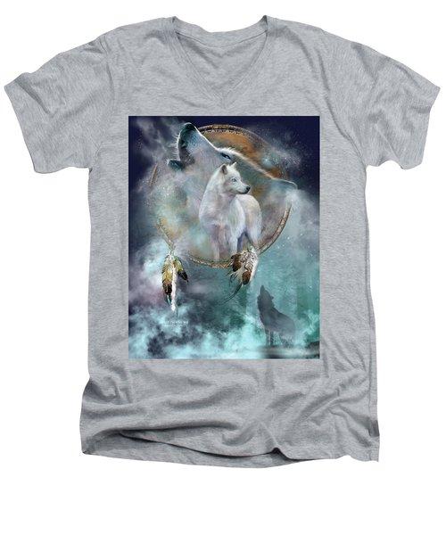 Dream Catcher - Spirit Of The White Wolf Men's V-Neck T-Shirt