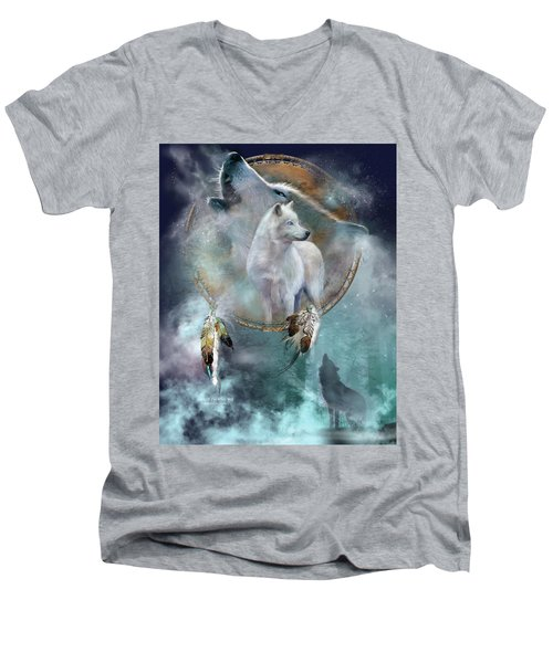 Dream Catcher - Spirit Of The White Wolf Men's V-Neck T-Shirt
