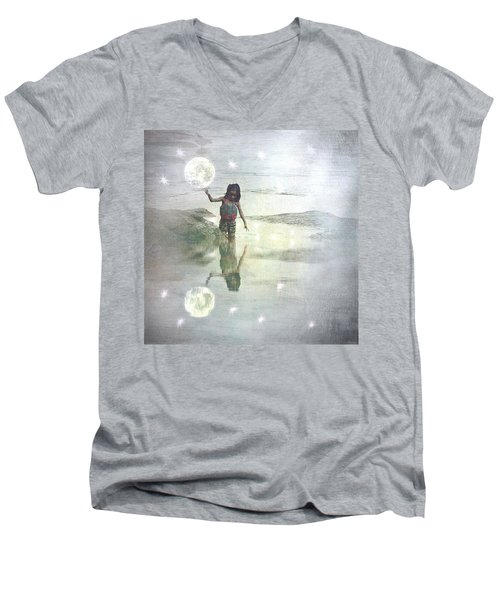 To Touch The Moon Men's V-Neck T-Shirt