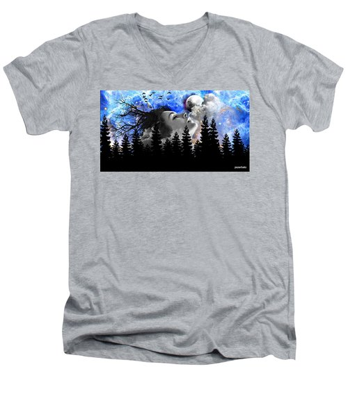 Dream Is The Space To Fly Farther Men's V-Neck T-Shirt by Paulo Zerbato