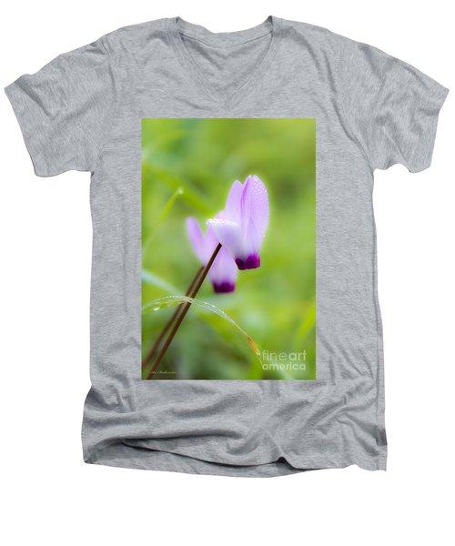 Dream On Purple Dew Drops Men's V-Neck T-Shirt by Arik Baltinester