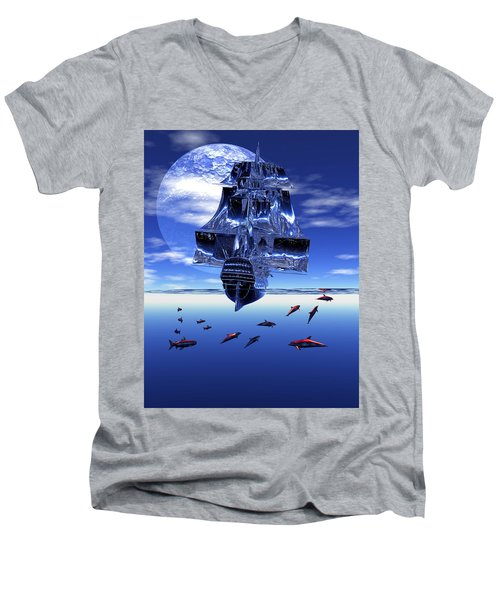 Men's V-Neck T-Shirt featuring the digital art Dream Sea Voyager by Claude McCoy