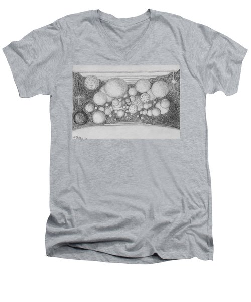 Men's V-Neck T-Shirt featuring the drawing Dream Spirits by Charles Bates