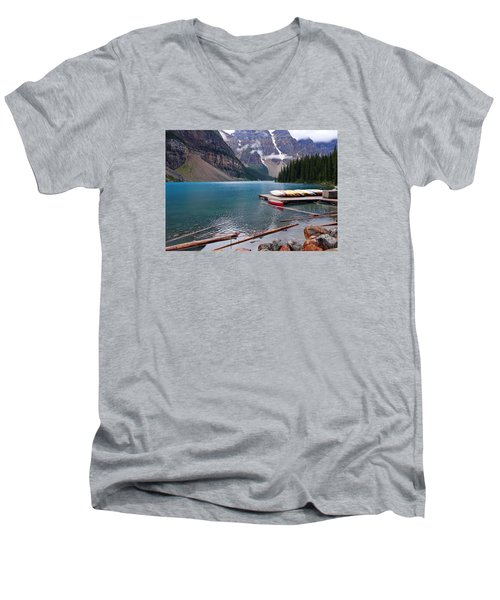 Moraine Lake, Ab  Men's V-Neck T-Shirt by Heather Vopni