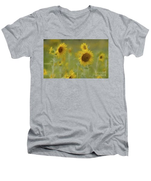 Men's V-Neck T-Shirt featuring the photograph Dreaming Of Sunflowers by Benanne Stiens