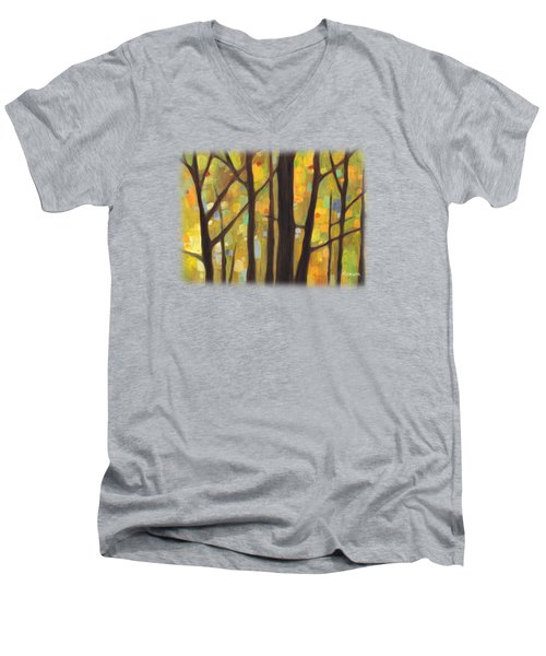 Men's V-Neck T-Shirt featuring the painting Dreaming Trees 1 by Hailey E Herrera