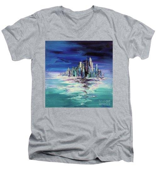 Dreamland Isle Men's V-Neck T-Shirt by Tatiana Iliina
