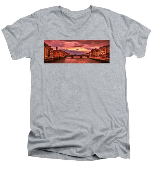 Saint Trinity Bridge From Ponte Vecchio At Red Sunset In Florence, Italy Men's V-Neck T-Shirt