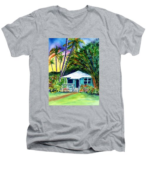 Men's V-Neck T-Shirt featuring the painting Dreams Of Kauai 2 by Marionette Taboniar