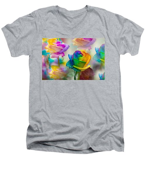 Men's V-Neck T-Shirt featuring the photograph Dreams Of Rainbow Rose by Jenny Rainbow