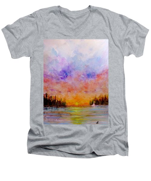 Men's V-Neck T-Shirt featuring the painting Dreamscape.. by Cristina Mihailescu
