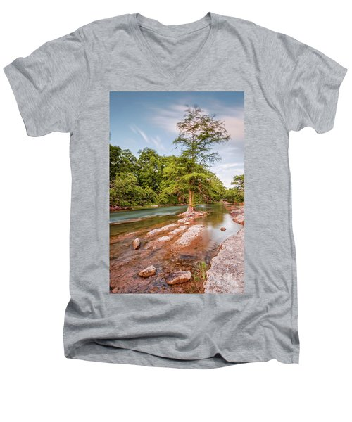 Dreamy Bald Cypress At Guadalupe River - Canyon Lake Texas Hill Country Men's V-Neck T-Shirt
