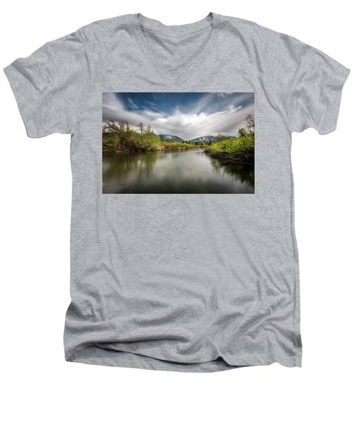 Men's V-Neck T-Shirt featuring the photograph Dreamy River Of Golden Dreams by Pierre Leclerc Photography