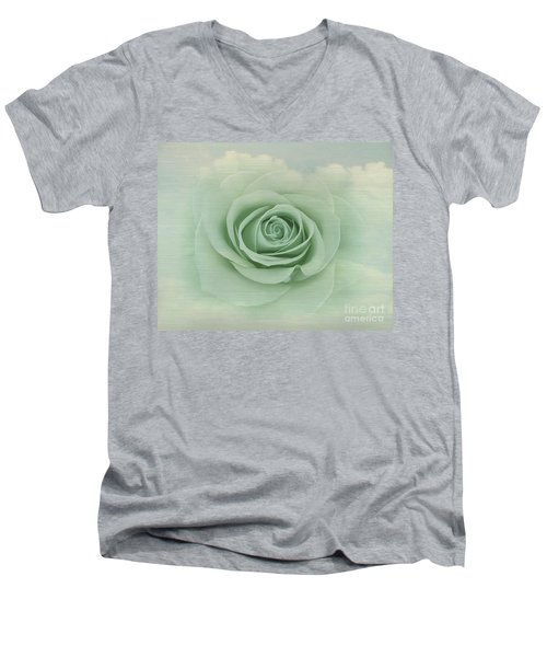 Dreamy Vintage Floating Rose Men's V-Neck T-Shirt