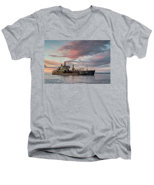 Men's V-Neck T-Shirt featuring the photograph Dredging Ship by Greg Nyquist