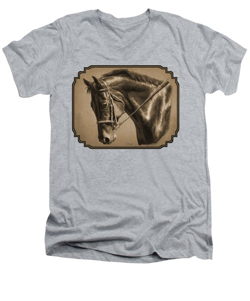 Dressage Horse Sepia Phone Case Men's V-Neck T-Shirt