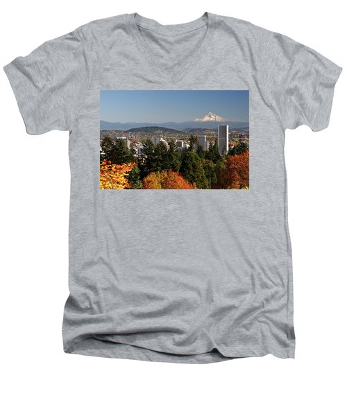 Dressed In Fall Colors Men's V-Neck T-Shirt by Wes and Dotty Weber