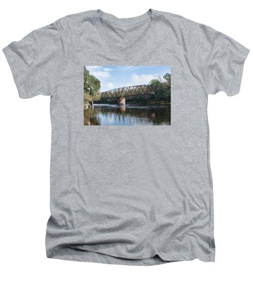 Drew Bridge Men's V-Neck T-Shirt by John Black