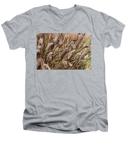 Dried Grasses In Burgundy And Toasted Wheat Men's V-Neck T-Shirt