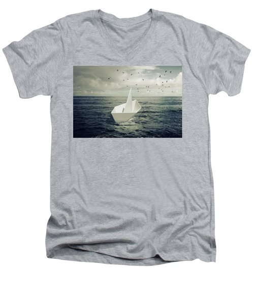 Men's V-Neck T-Shirt featuring the photograph Drifting Paper Boat by Carlos Caetano
