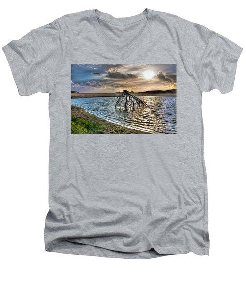 Driftwood In A Tide Pool Outer Banks Ap Men's V-Neck T-Shirt by Dan Carmichael