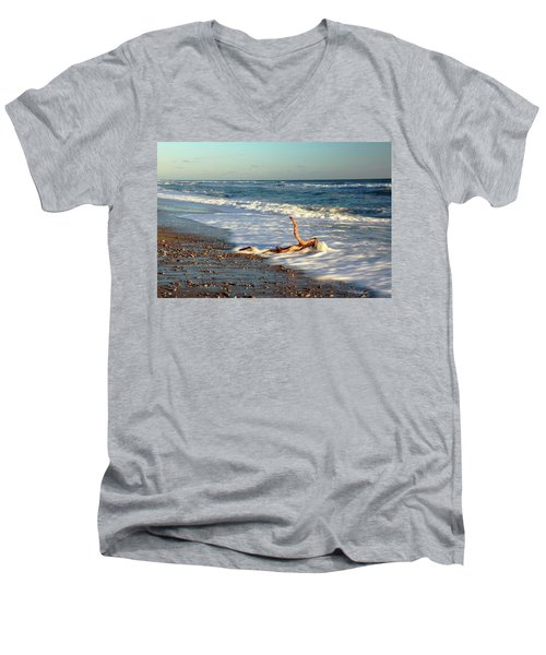 Men's V-Neck T-Shirt featuring the photograph Driftwood In The Surf by Roupen  Baker