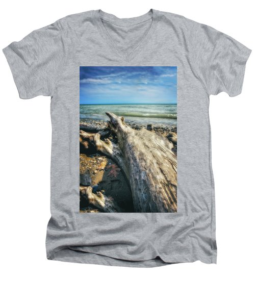 Men's V-Neck T-Shirt featuring the photograph Driftwood On Beach - Grant Park - Lake Michigan Shoreline by Jennifer Rondinelli Reilly - Fine Art Photography