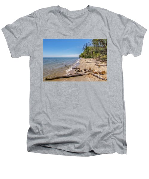 Men's V-Neck T-Shirt featuring the photograph Driftwood On The Beach by Charles Kraus