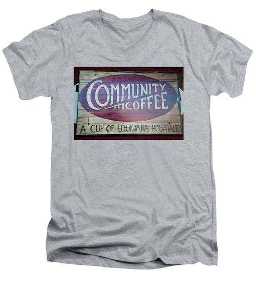 Drink Community Coffee Men's V-Neck T-Shirt