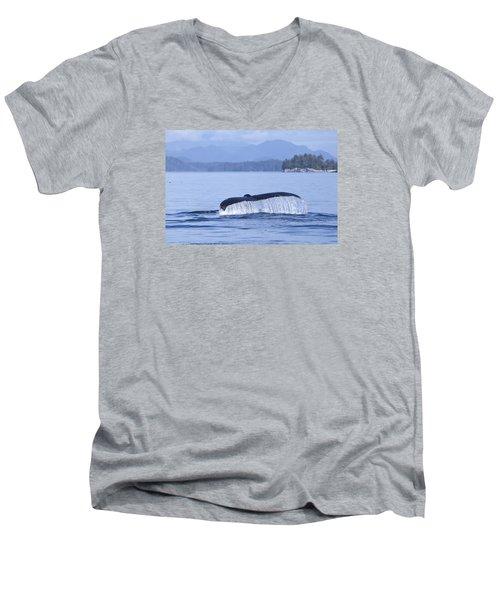 Dripping Whale Fluke Men's V-Neck T-Shirt by Michele Cornelius