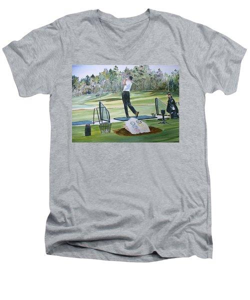 Driving Pine Hills Men's V-Neck T-Shirt by P Anthony Visco