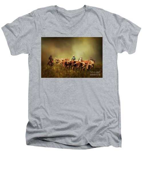 Driving The Herd Men's V-Neck T-Shirt by Priscilla Burgers
