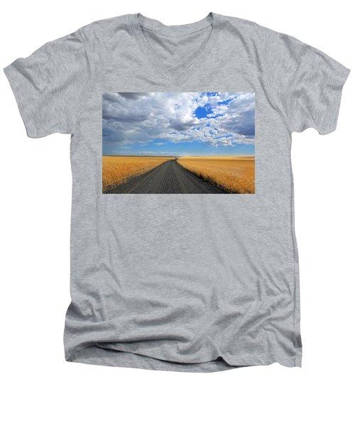 Driving Through The Wheat Fields Men's V-Neck T-Shirt by Lynn Hopwood