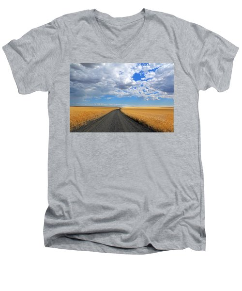 Driving Through The Wheat Fields Men's V-Neck T-Shirt