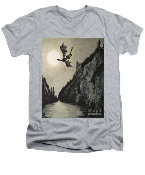 Drogon's Lair Men's V-Neck T-Shirt by Suzette Kallen