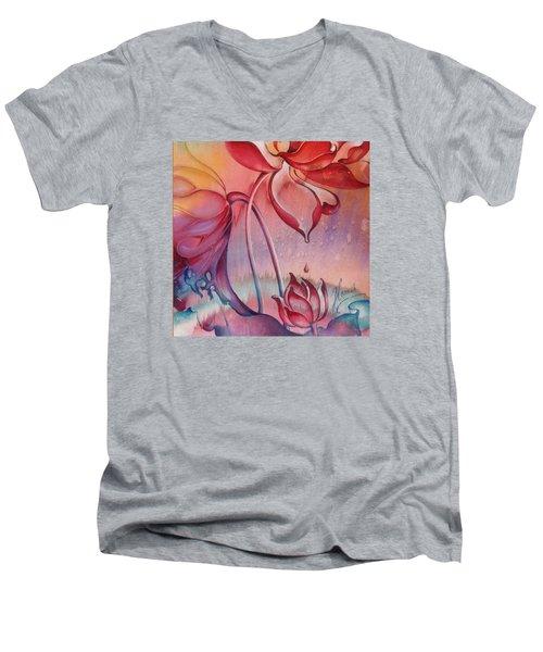 Men's V-Neck T-Shirt featuring the painting Drop Of Love by Anna Ewa Miarczynska
