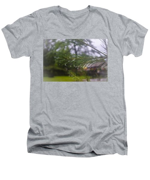 Droplets On Pine Branch Men's V-Neck T-Shirt by Deborah Smolinske