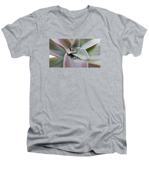 Droplets On Succulent Men's V-Neck T-Shirt by Ian Kowalski