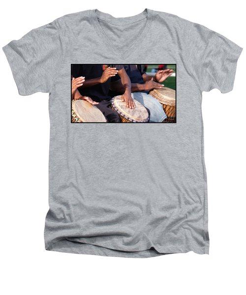 Drum Rhythm Men's V-Neck T-Shirt