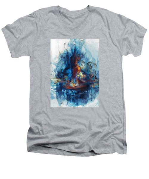 Drum Men's V-Neck T-Shirt by Te Hu