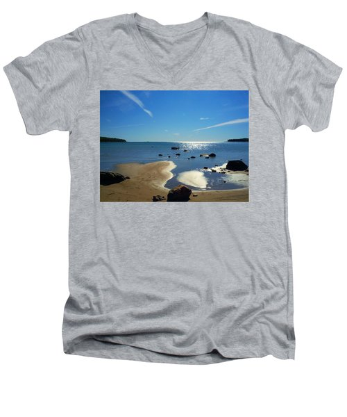 Drummond Shore 1 Men's V-Neck T-Shirt by Desiree Paquette