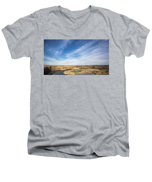 Men's V-Neck T-Shirt featuring the photograph Dry Fall, Washington by Jingjits Photography