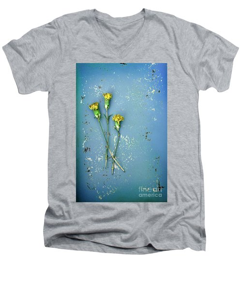 Men's V-Neck T-Shirt featuring the photograph Dry Flowers On Blue by Jill Battaglia