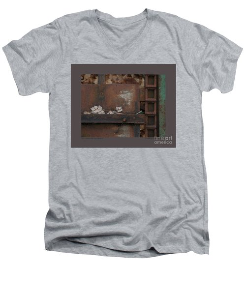 Men's V-Neck T-Shirt featuring the photograph Dry Leaves And Old Steel-iv by Patricia Overmoyer