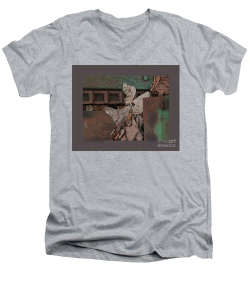 Men's V-Neck T-Shirt featuring the photograph Dry Leaves And Old Steel-v by Patricia Overmoyer