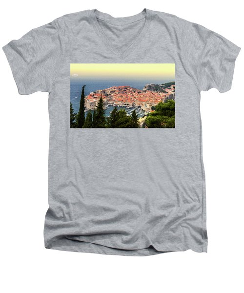 Dubrovnik Old City On The Adriatic Sea, South Dalmatia Region, C Men's V-Neck T-Shirt