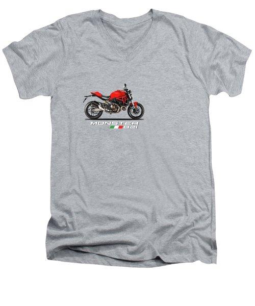 Ducati Monster 821 Men's V-Neck T-Shirt by Mark Rogan