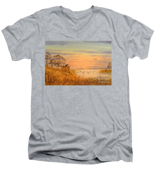 Men's V-Neck T-Shirt featuring the painting Duck Hunting Calls by Bill Holkham