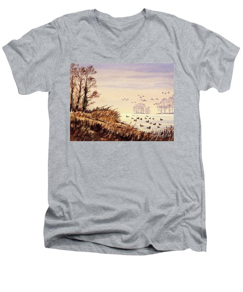 Men's V-Neck T-Shirt featuring the painting Duck Hunting Times by Bill Holkham