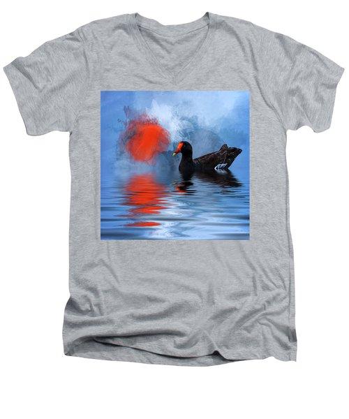 Duck In A Pond Men's V-Neck T-Shirt by Cyndy Doty